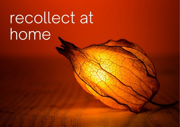 """""""Recollect at home"""" written over autumn leaf background"""